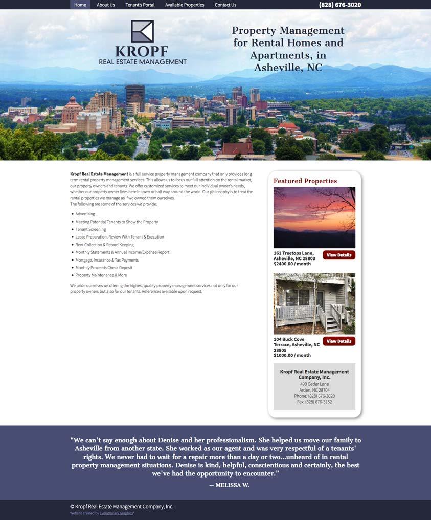 Kropf Website Design Desktop