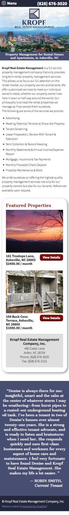 Kropf Website Design Mobile