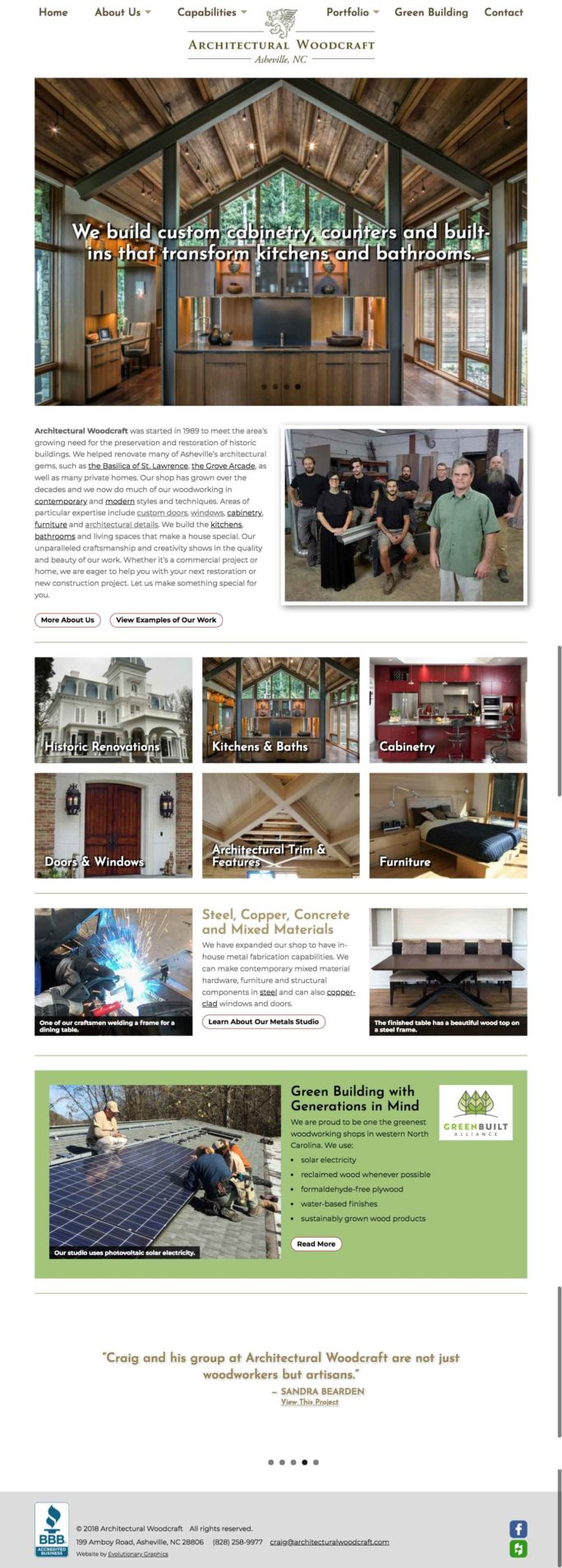 website design in asheville for woodworkers
